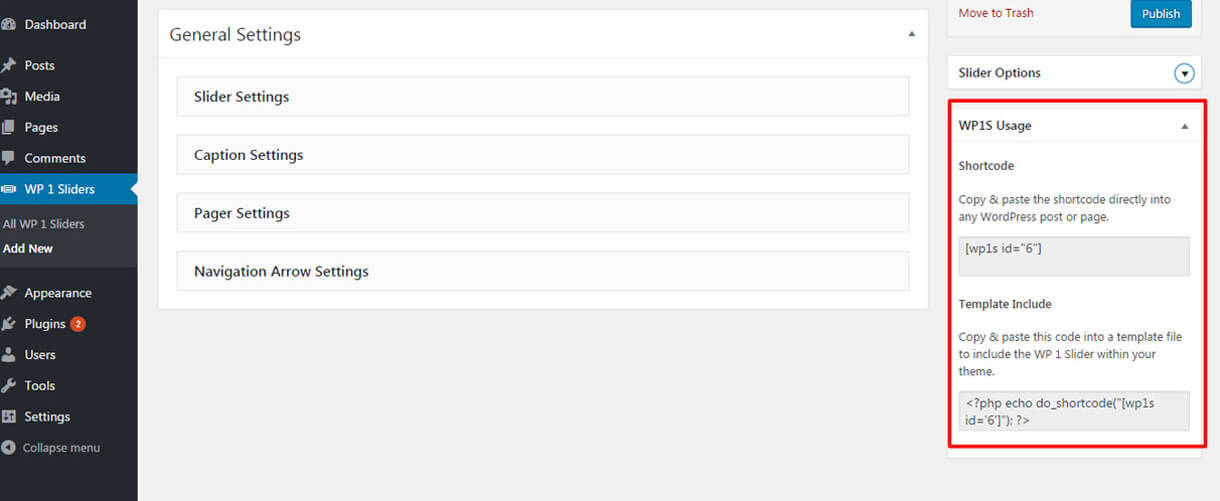 easy-usage-via-shortcode- Free WordPress Slider Plugin WP1 Slider