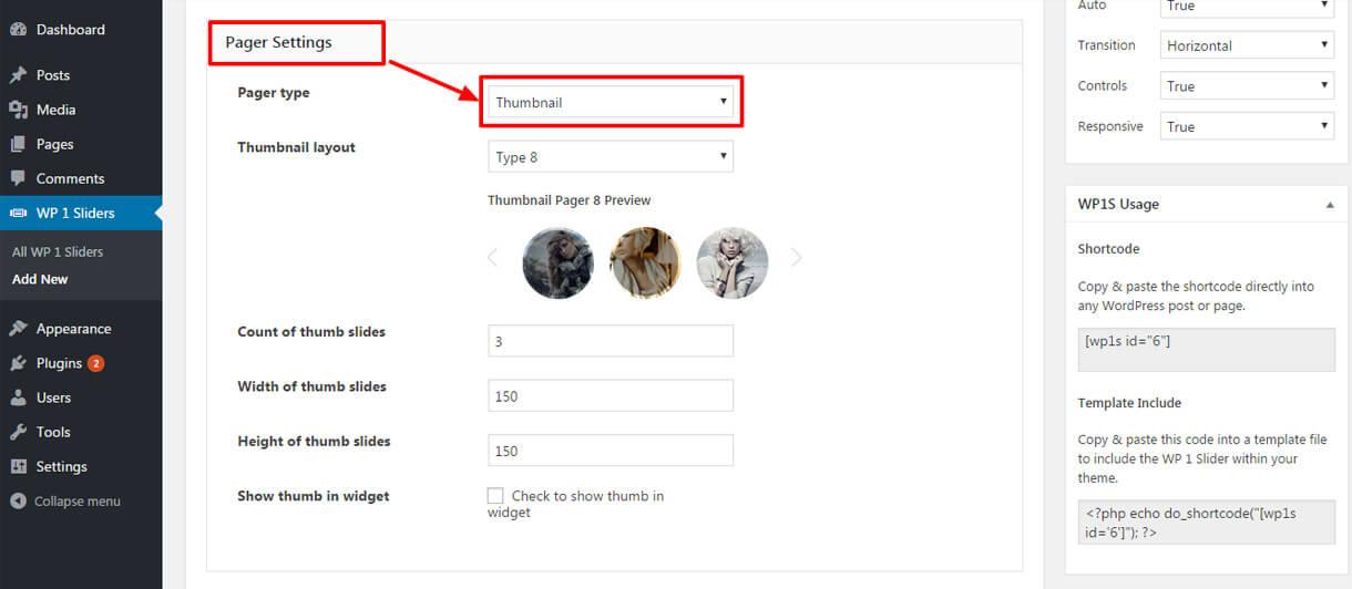 pager setting - Best Free Responsive WordPress Slider Plugin 2020- WP 1 Slider