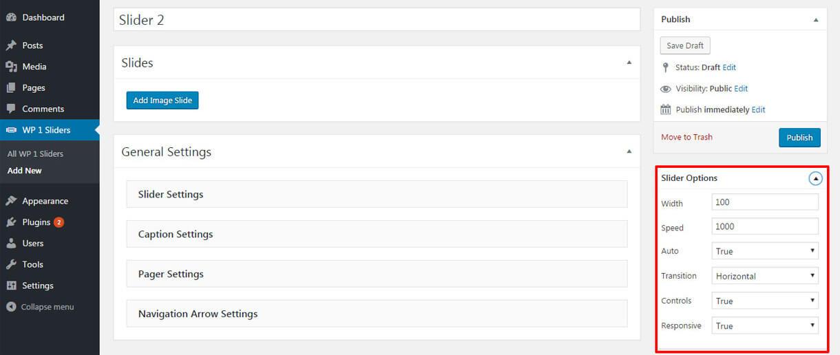 slider options - Best Free Responsive WordPress Slider Plugin 2020- WP 1 Slider