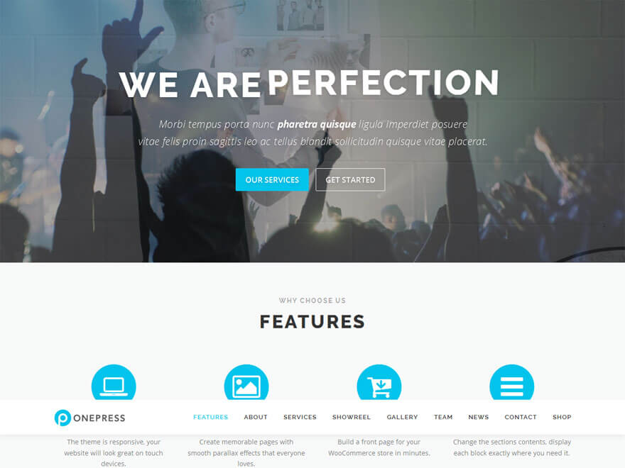 OnePress1 - 30+ Best Free WordPress Landing Page Themes and Templates 2019
