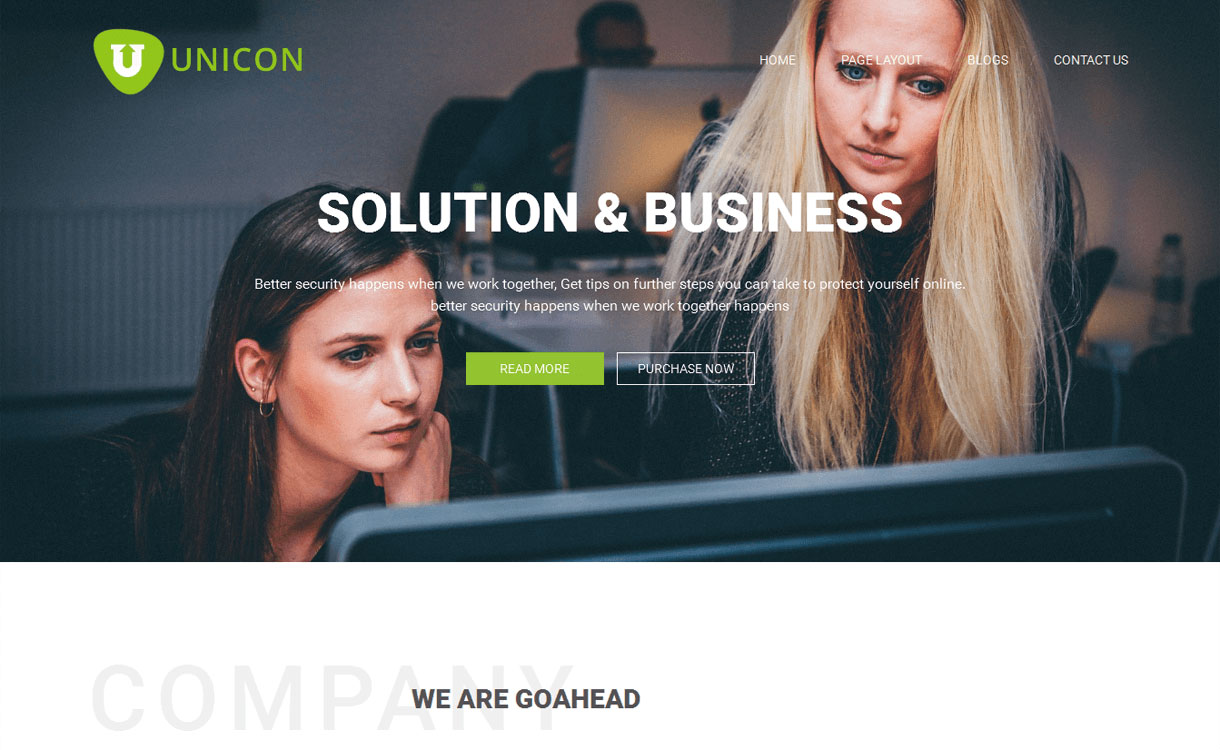 Unicon - 15+ Best Free Responsive WordPress Business Themes 2019