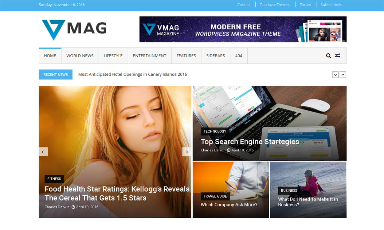 VMag - 30+ Best Free WordPress Personal/Professional Blog Themes for 2019