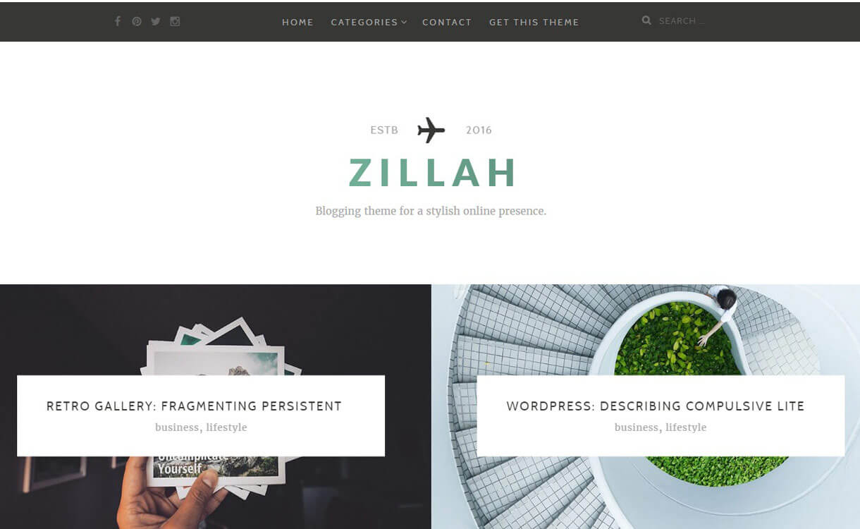 Zillah 1 - 30+ Best Free WordPress Personal/Professional Blog Themes for 2019