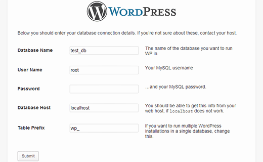 database information - How to install WordPress in your Windows Computer