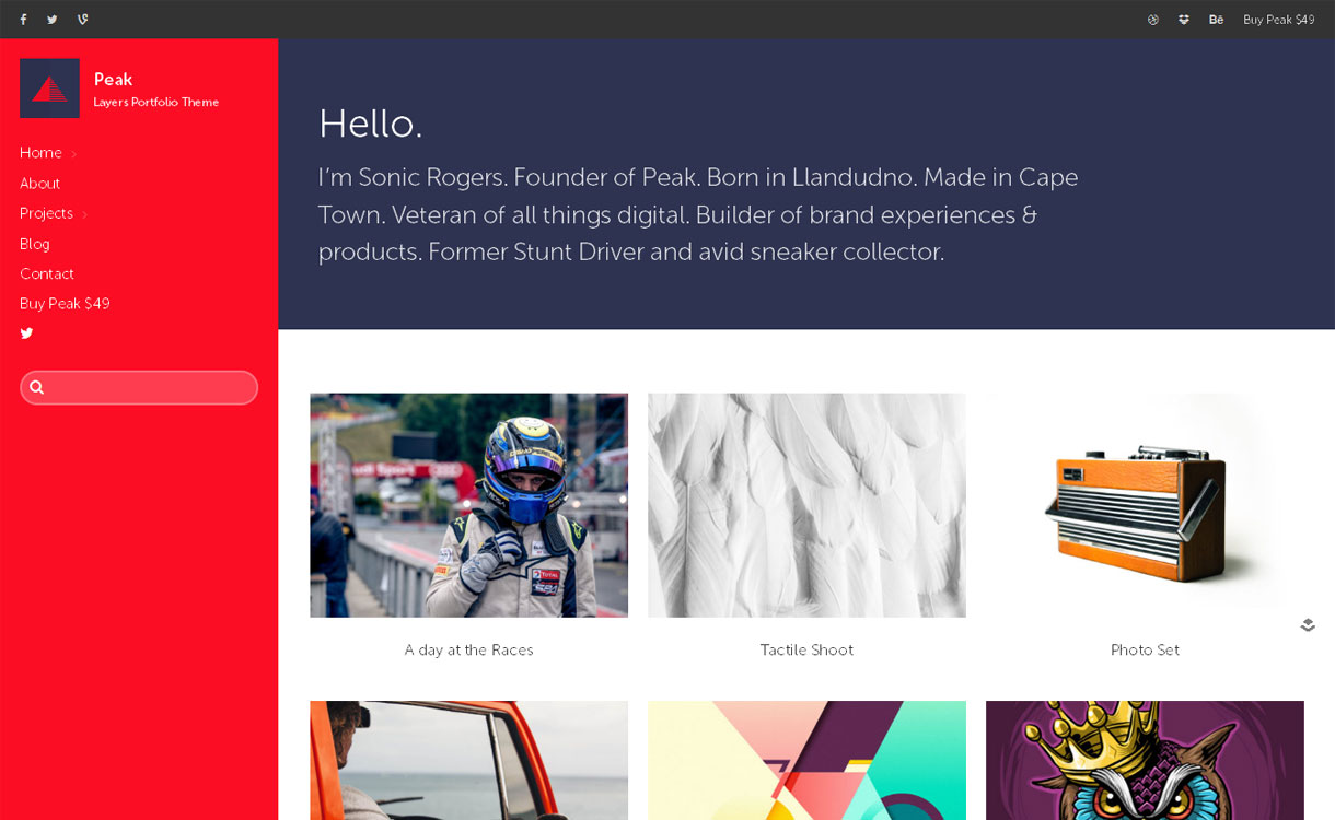 Peak - Excellent Portfolio WordPress Theme