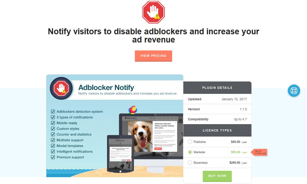 Adblock Notify - Premium Adblock Notification Plugin