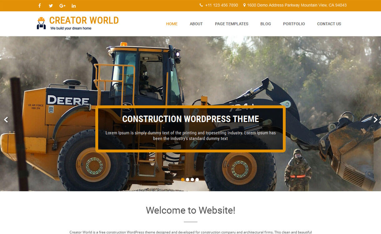 Creator World - 20+ Best Free WordPress Construction Company Themes for 2020
