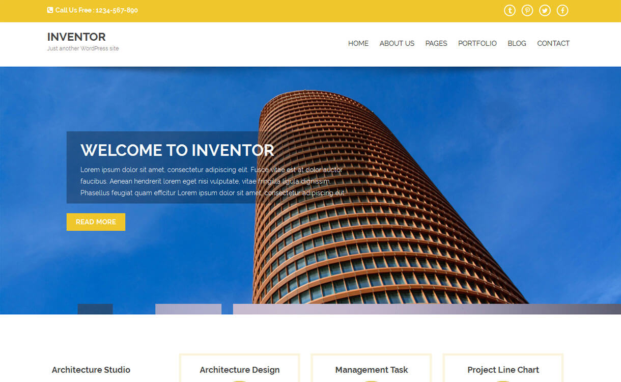 Inventor - 20+ Best Free WordPress Construction Company Themes for 2020