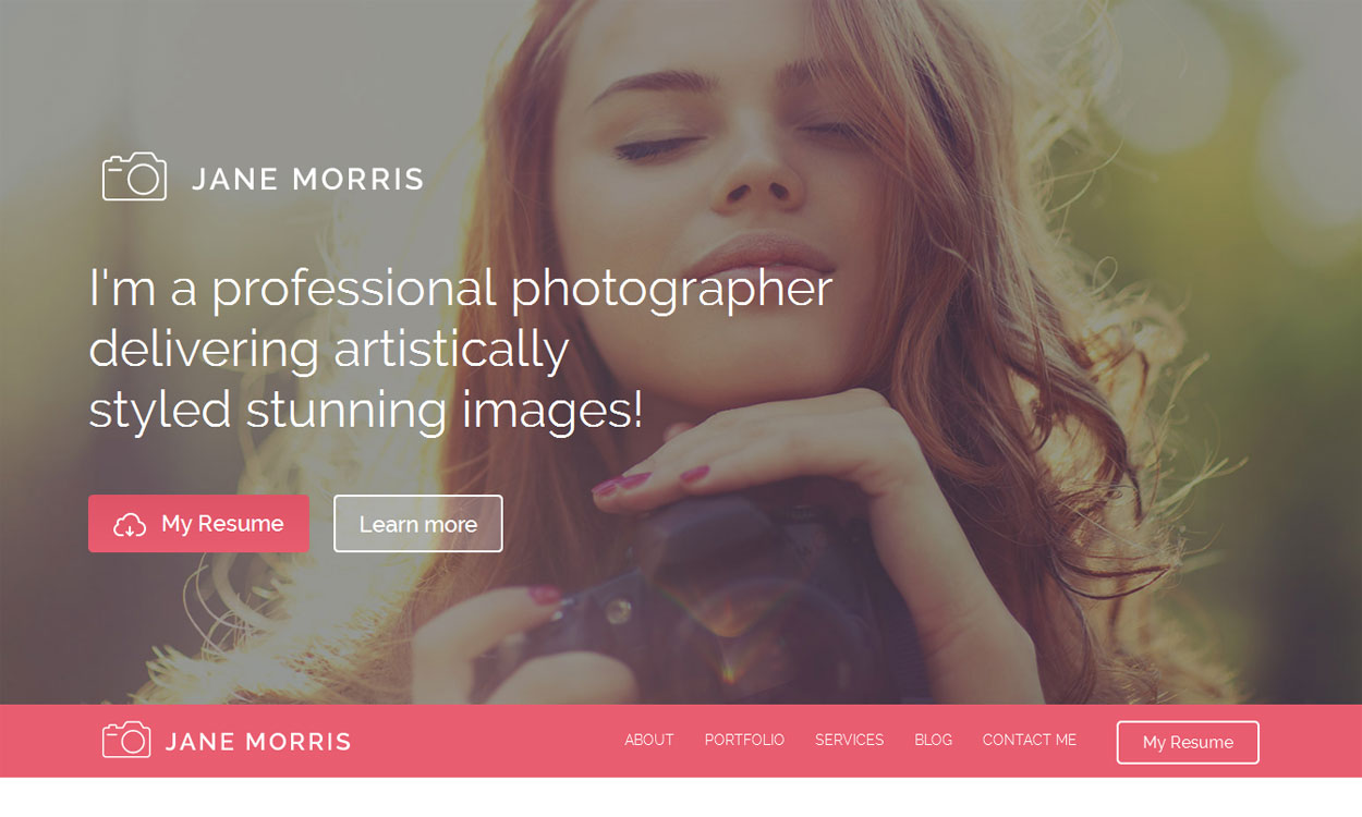 Jane Morris - 30+ Best Free WordPress Photography Themes for 2019
