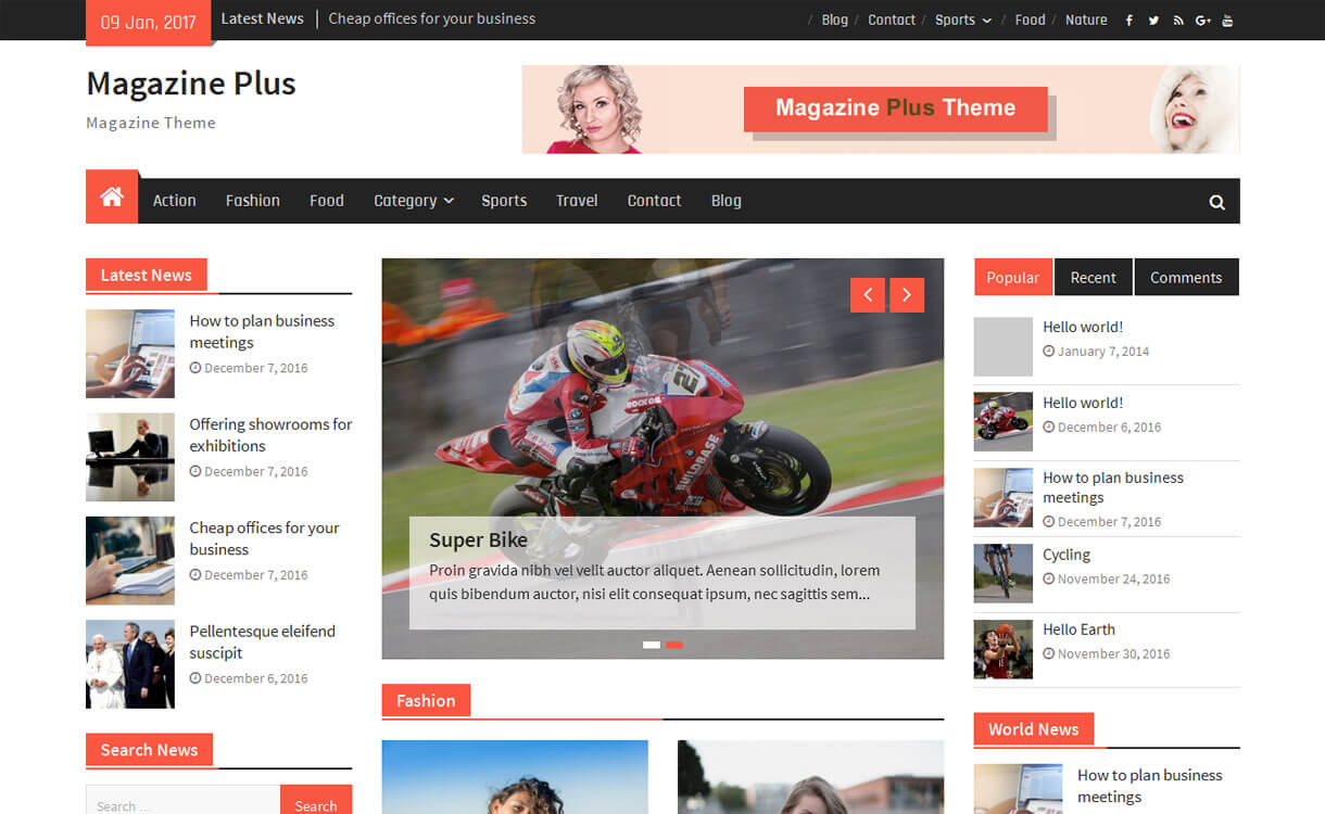 Magazine Plus - 11+ Best Free Responsive WordPress Themes January 2017