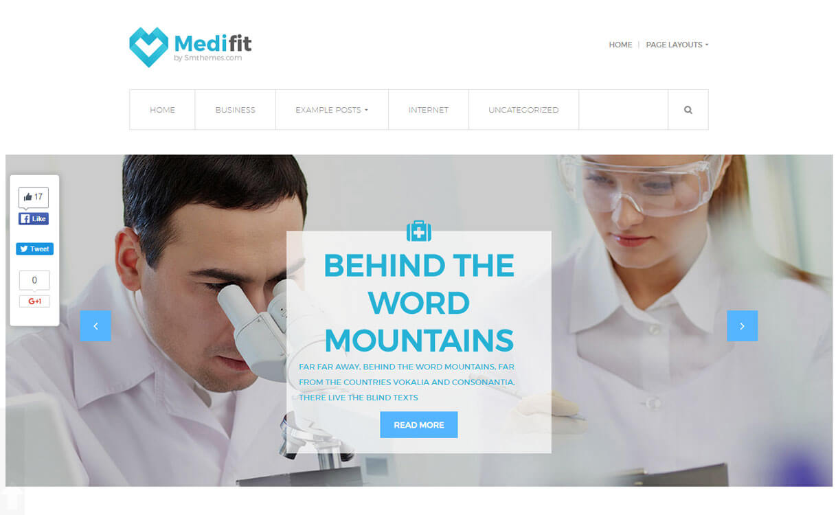 Medifit - 23+ Best Free WordPress Health and Medical Themes 2020