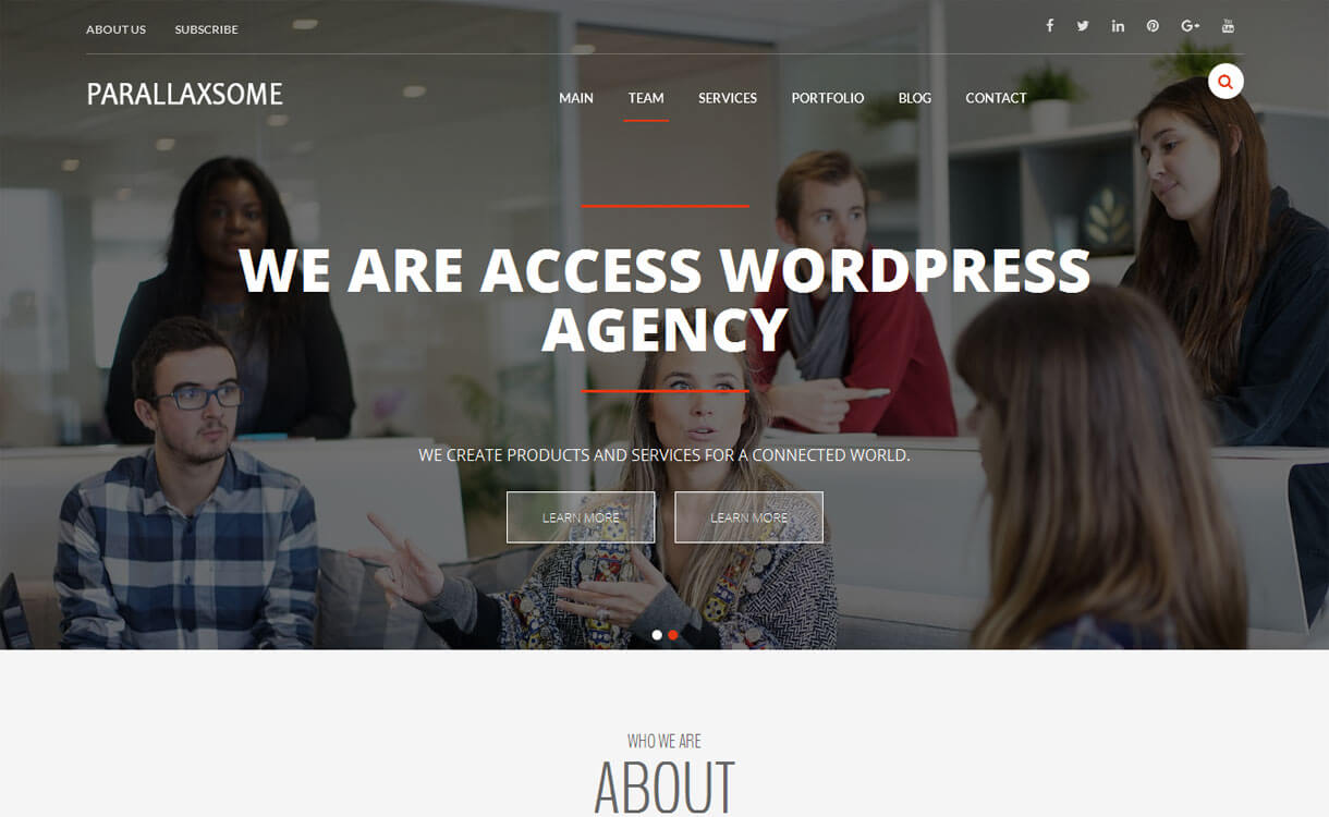 ParallaxSome 1 - 25+ Best Free WordPress One Page Themes for 2020