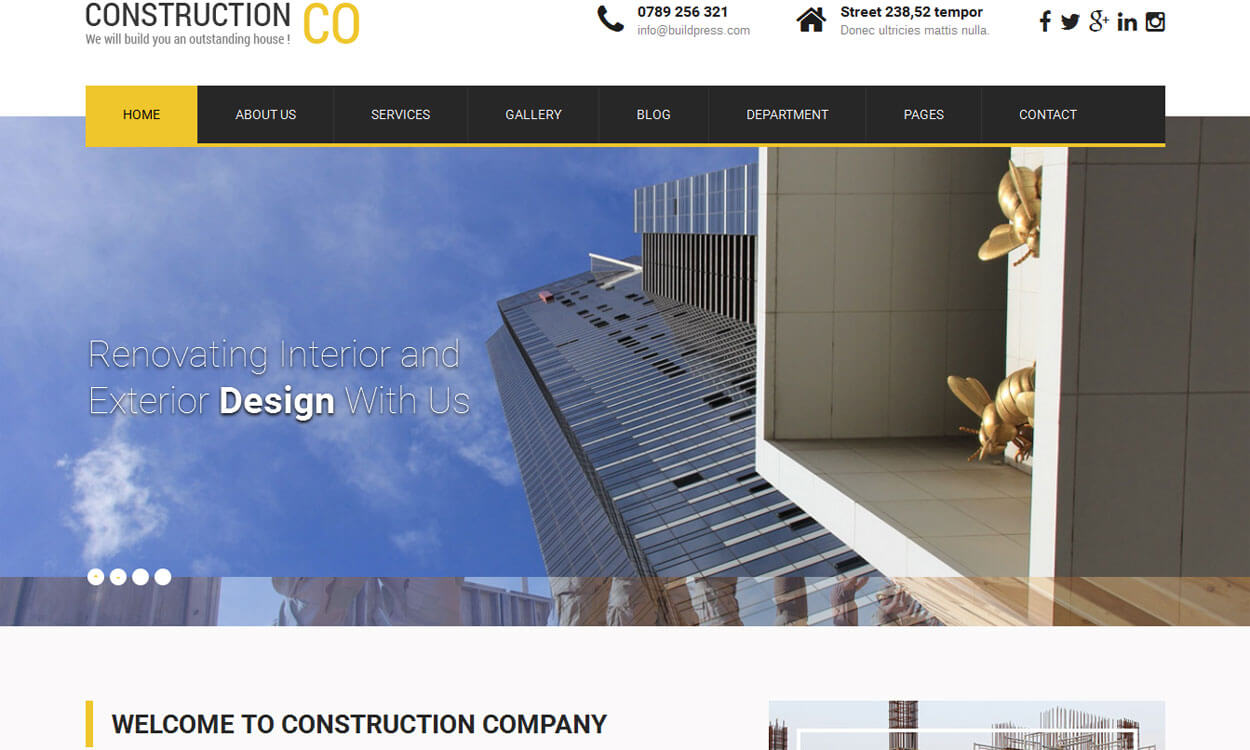 SKT Construction Lite - 20+ Best Free WordPress Construction Company Themes for 2019
