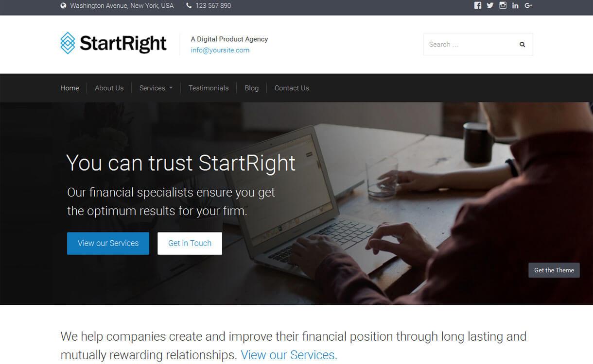 StartRight - Best free WordPress Business Theme 2018