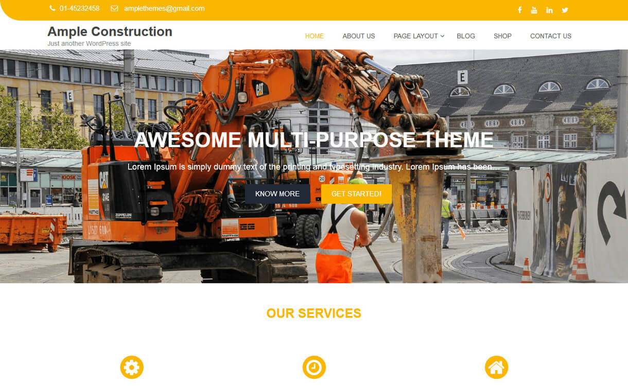 ample construction best fre - 20+ Best Free WordPress Construction Company Themes for 2019