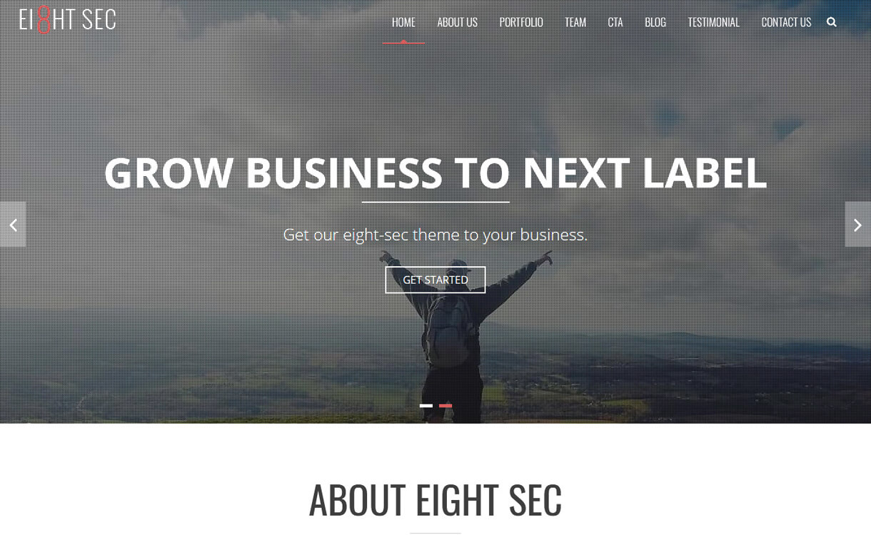 eight sec best free one page wordpress themes - 25+ Best Free WordPress One Page Themes for 2020
