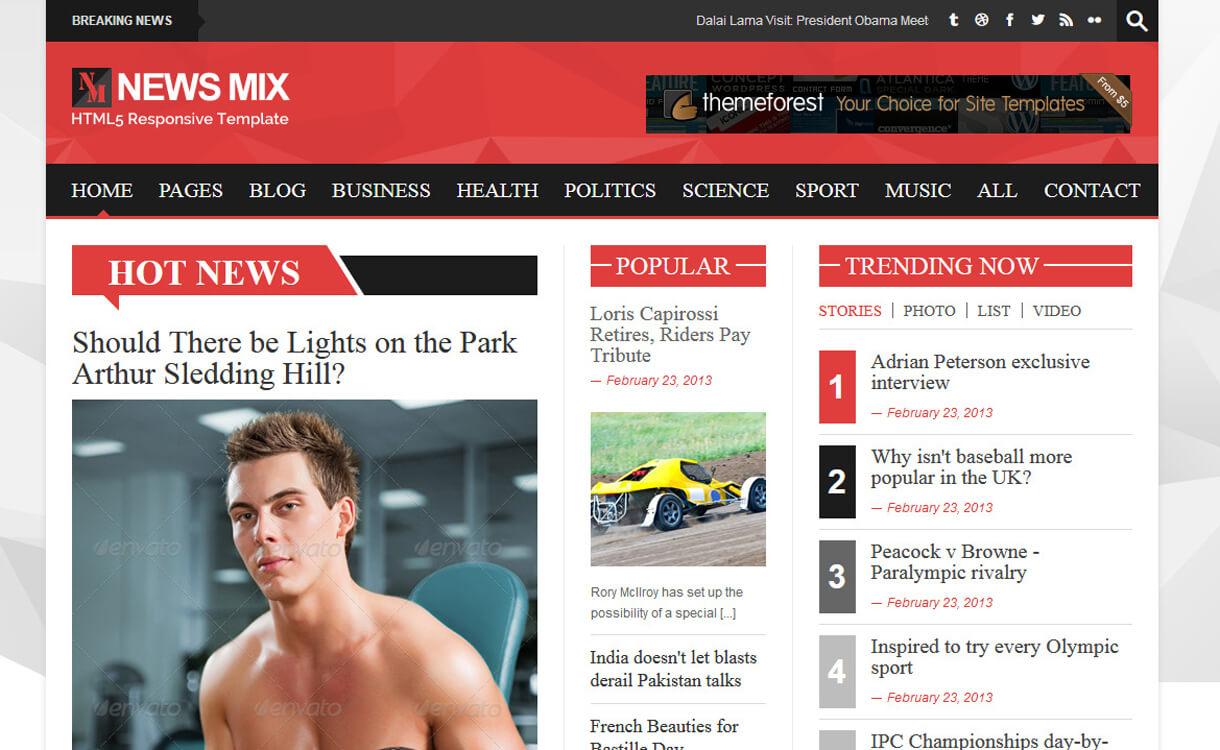 news mix lite best free magazine wordpress themes - 25+ Best Free WordPress News-Magazine/Online Editorial Themes for 2019