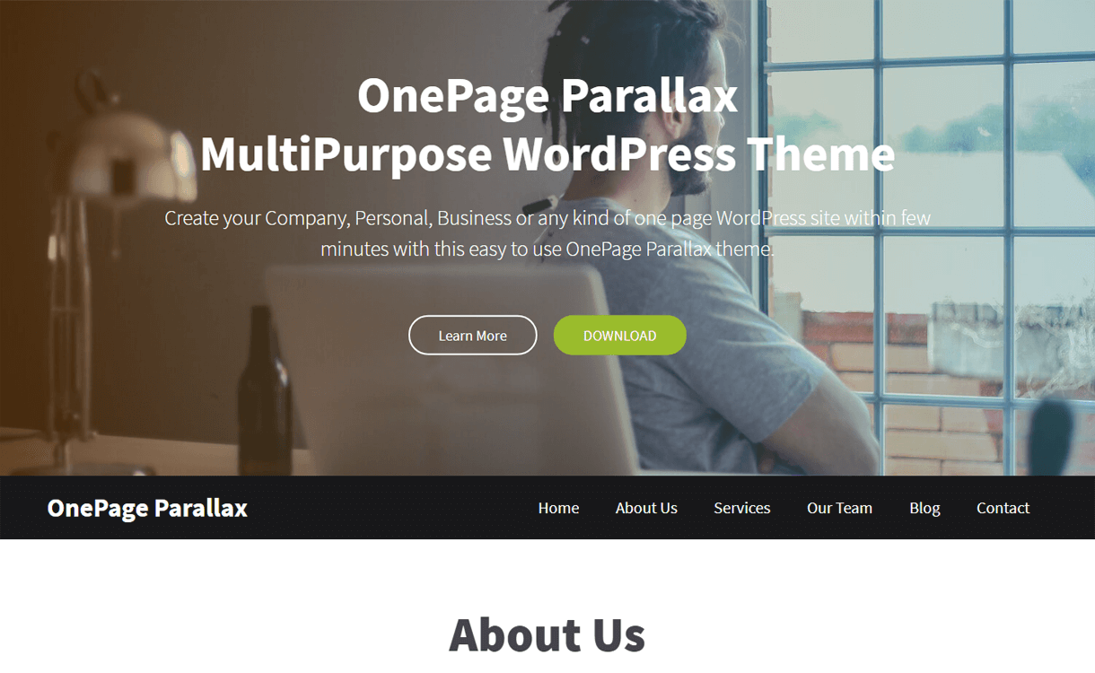 onepage parallax best free one page wordpress themes - 25+ Best Free WordPress One Page Themes for 2020