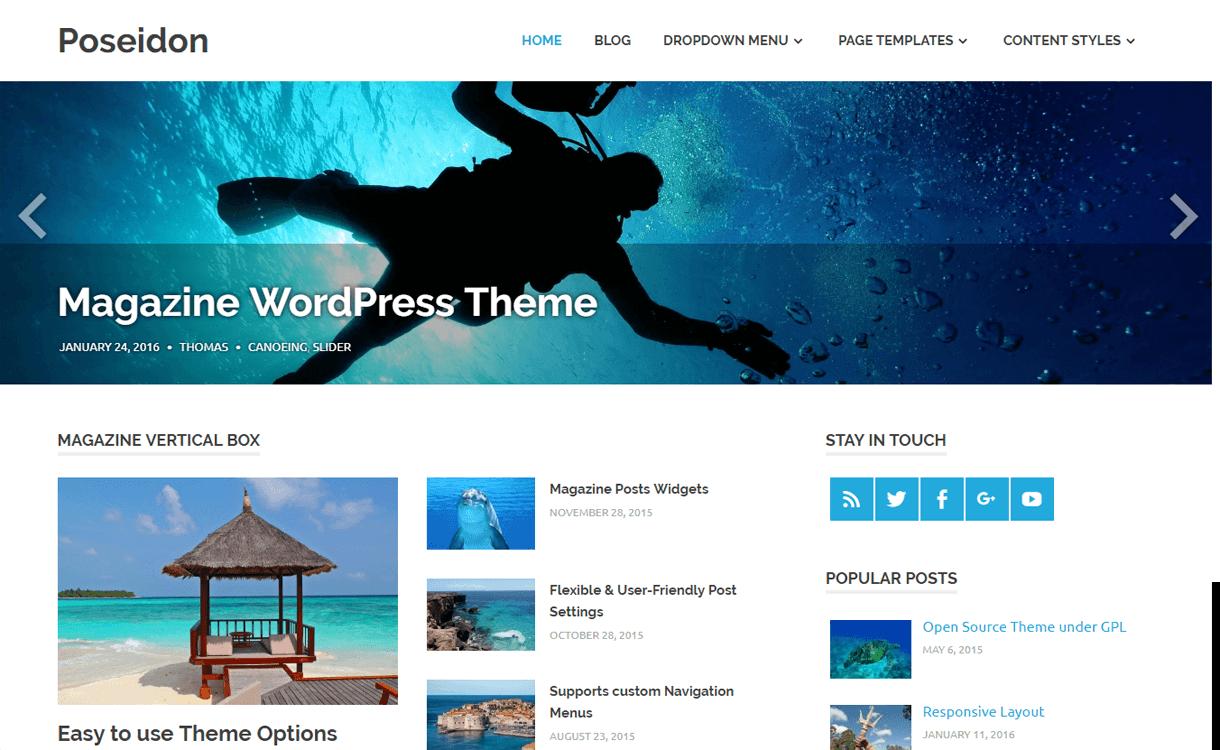 poseidon best free magazine wordpress themes - 25+ Best Free WordPress News-Magazine/Online Editorial Themes for 2019