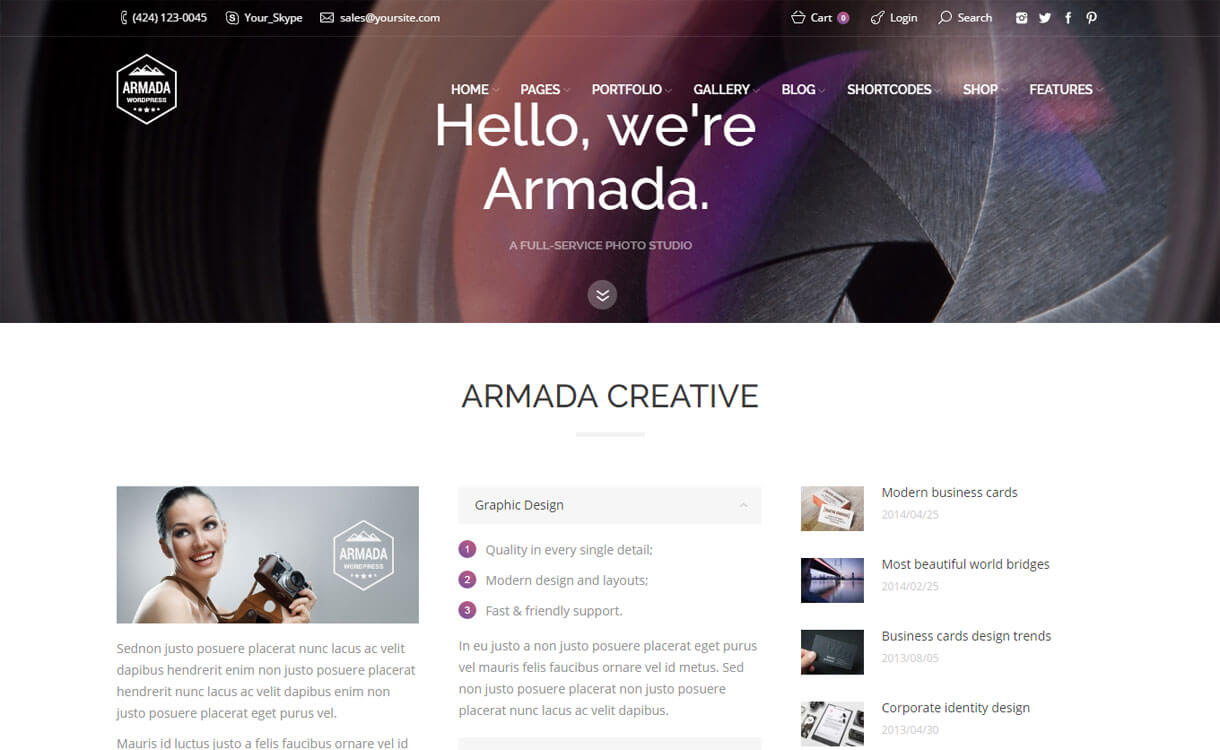 Armada - 30+ Best Premium WordPress Photography Themes 2019