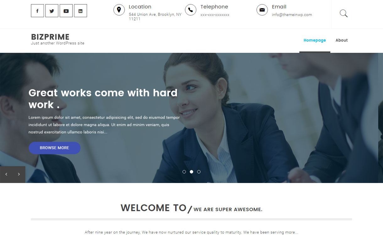 Bizprime - Free Modern WordPress Theme