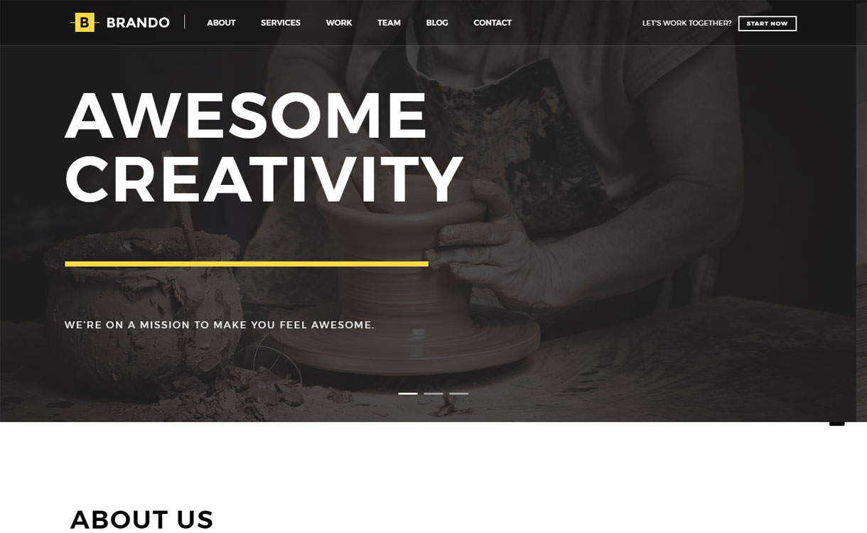 Brando - 15+ Best Premium WordPress One Page Themes 2019