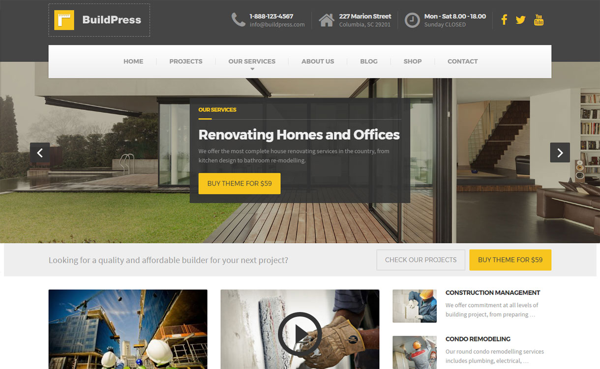 BuildPress - Best Premium WordPress Construction Company Themes 2018