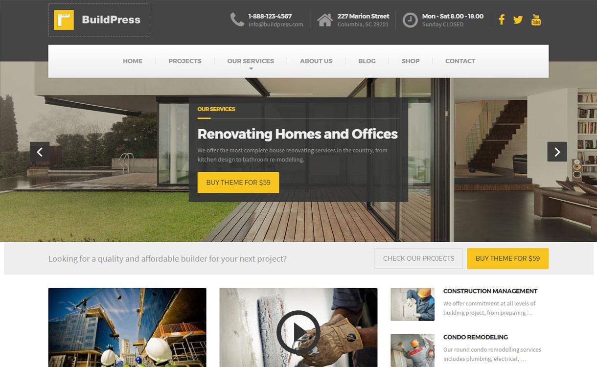 BuildPress - 30+ Best Premium WordPress Construction Company Themes 2019