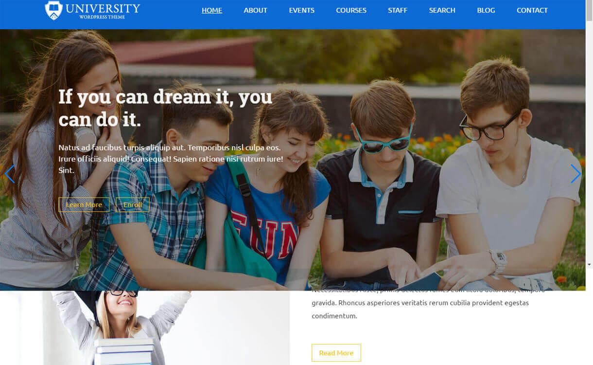 College - Best Free WordPress Education Themes 2018
