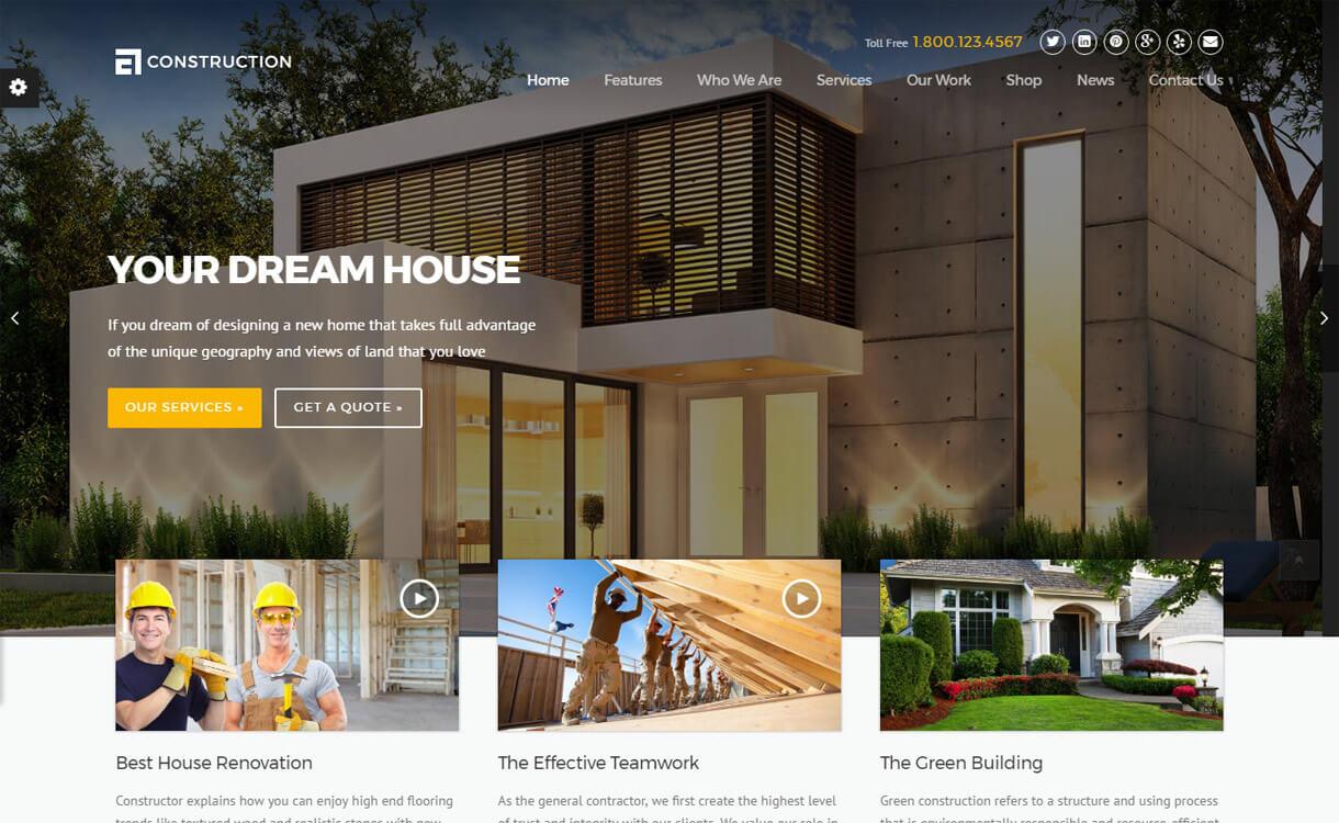 Construction theme 1 - 30+ Best Premium WordPress Construction Company Themes 2019