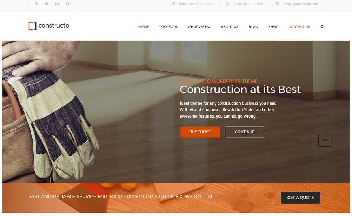 Constructo - 30+ Best Premium WordPress Construction Company Themes 2019