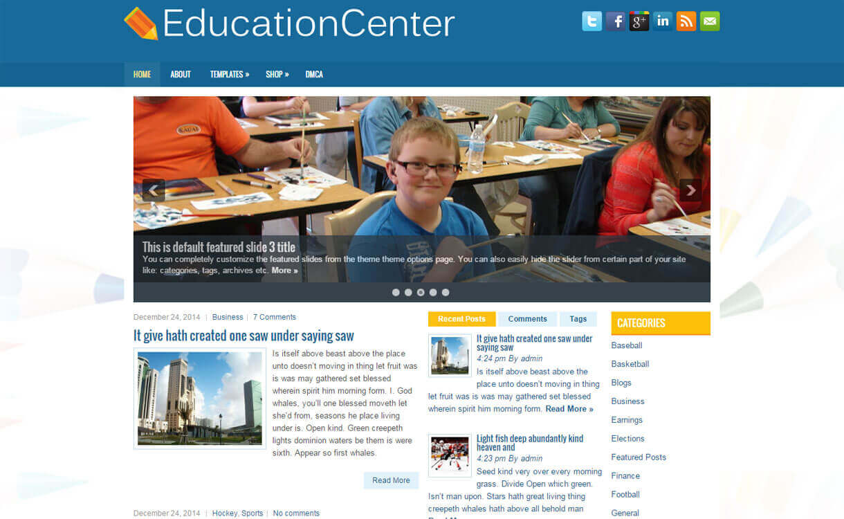 Education Center - 30+ Best Free Education WordPress Themes 2019
