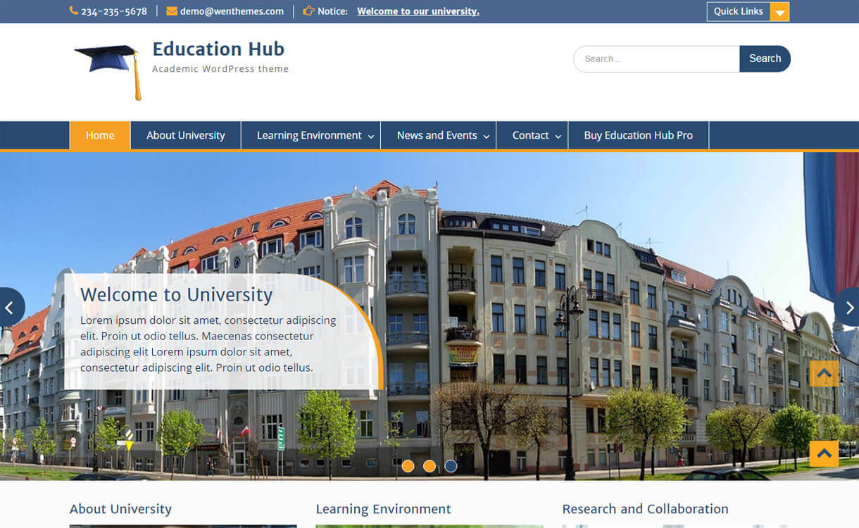 Educational Hub - 30+ Best Free Education WordPress Themes 2019