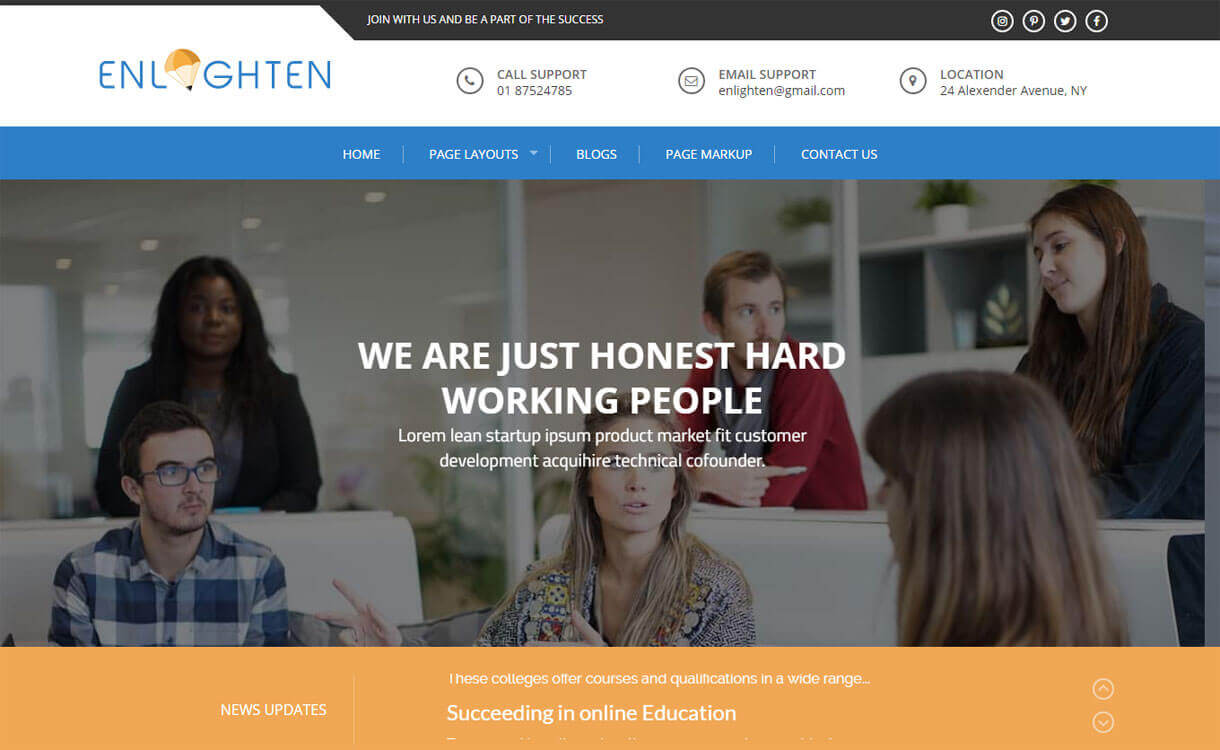 Enlighten - 30+ Best Free Education WordPress Themes 2019