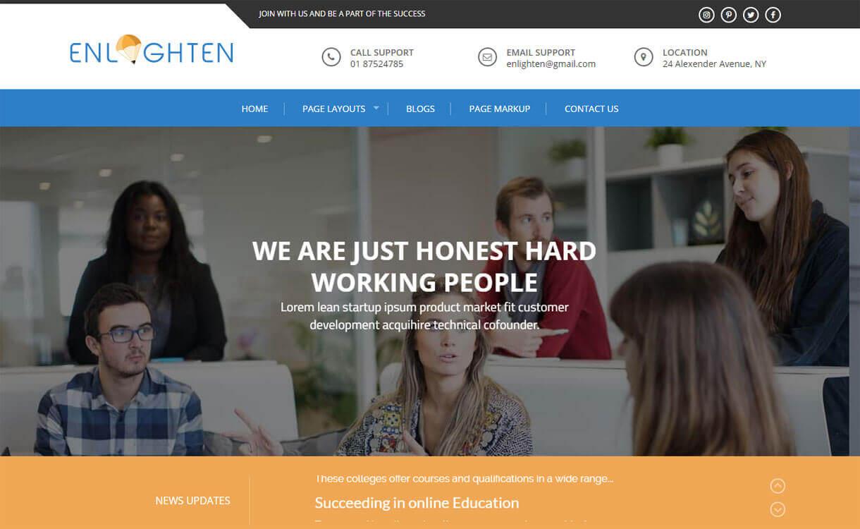 Enlighten - 30+ Best Free Education WordPress Themes 2019