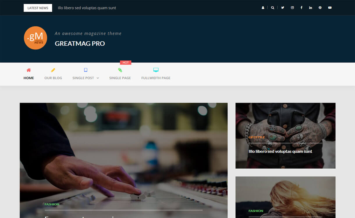 GreatMag Pro - 21+ Best Premium WordPress News/Magazine/Editorial Themes 2019