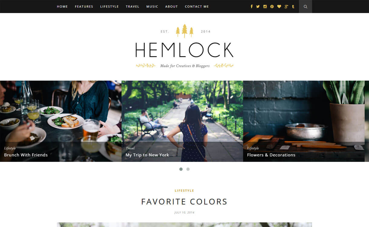 Hemlock - Premium WordPress Blog Theme