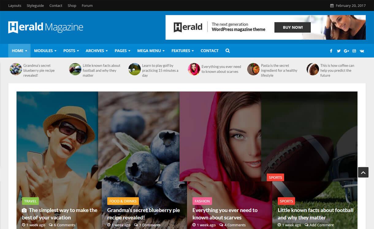 Herald - Best Premium WordPress News-Magazine, Editorial Themes 2017