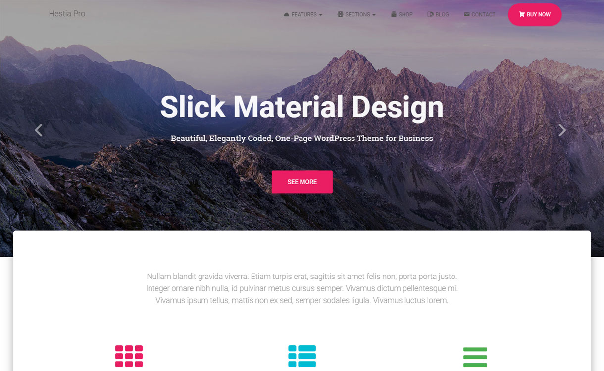 Hestia Pro - Best Premium One Page Material Design WordPress Theme