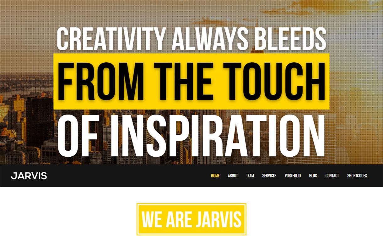 Jarvis - 15+ Best Premium WordPress One Page Themes 2019