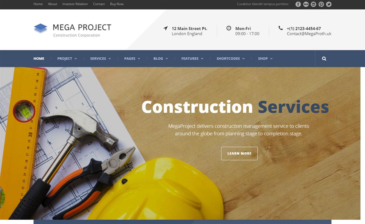 Mega Project - 30+ Best Premium WordPress Construction Company Themes 2019