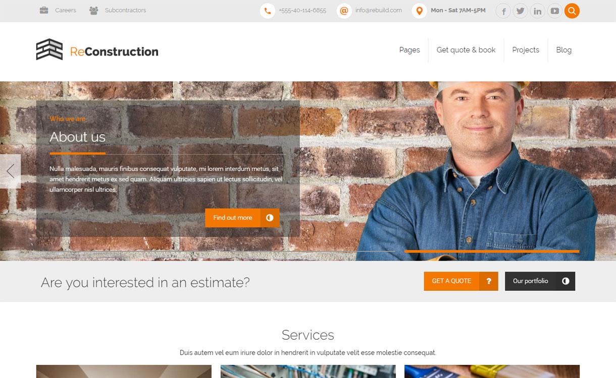 ReConstruction - 30+ Best Premium WordPress Construction Company Themes 2019