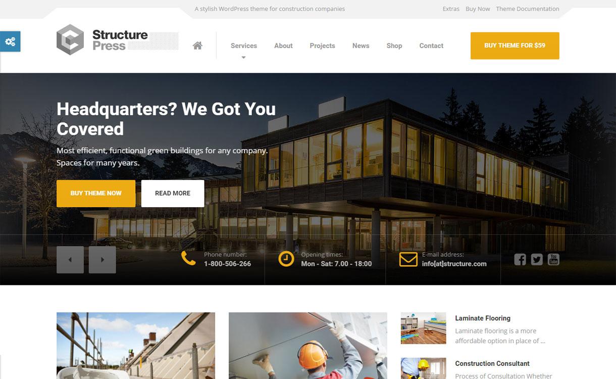 Structure Press - 30+ Best Premium WordPress Construction Company Themes 2019