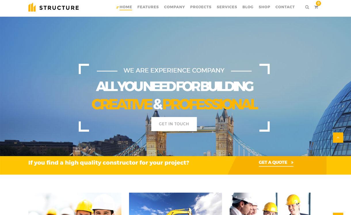 Structure - 30+ Best Premium WordPress Construction Company Themes 2019