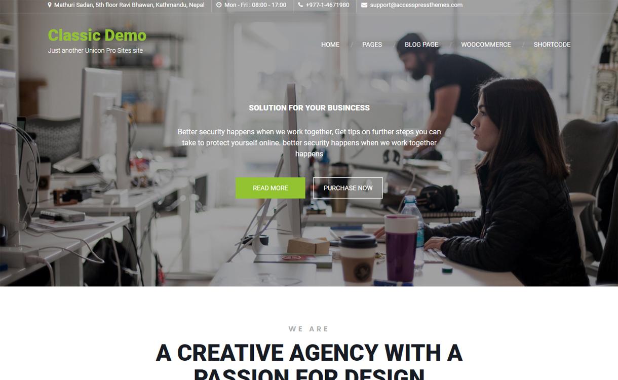 Unicon Pro Premium WordPress Business Theme - 30+ Best Premium WordPress Business/Agency Themes for 2019