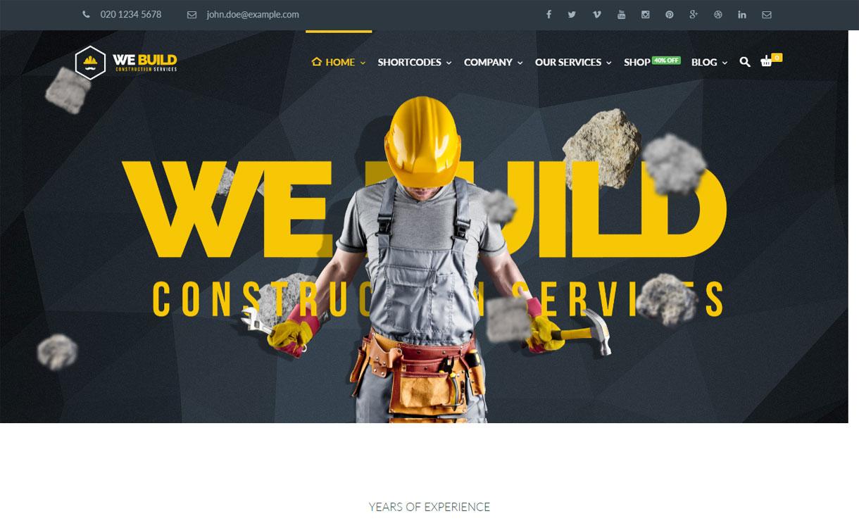 We Build - 30+ Best Premium WordPress Construction Company Themes 2019