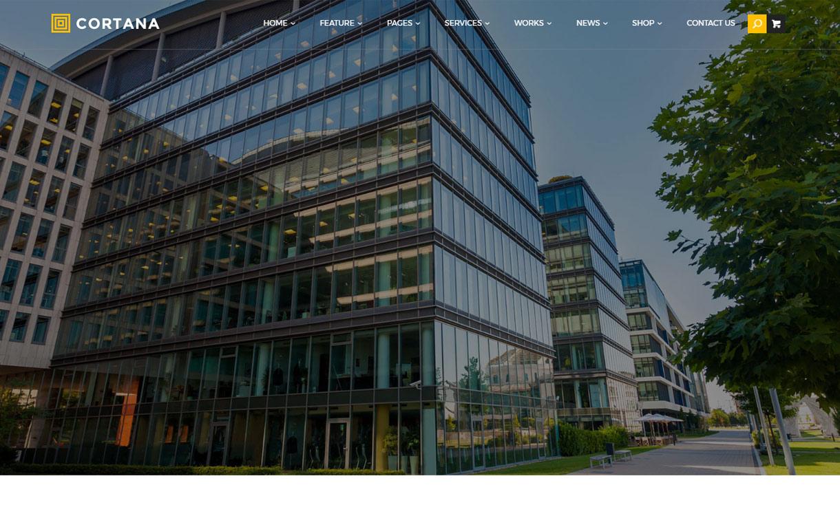 Cortana - Best Premium WordPress Construction Company Themes 2018