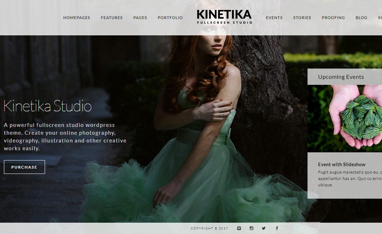 kinetika Best Premium WordPress Photography Themes 2017 - 30+ Best Premium WordPress Photography Themes 2019