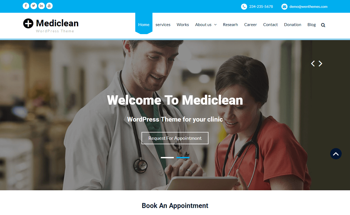 mediclean best free medical wordpress themes - 23+ Best Free WordPress Health and Medical Themes 2020