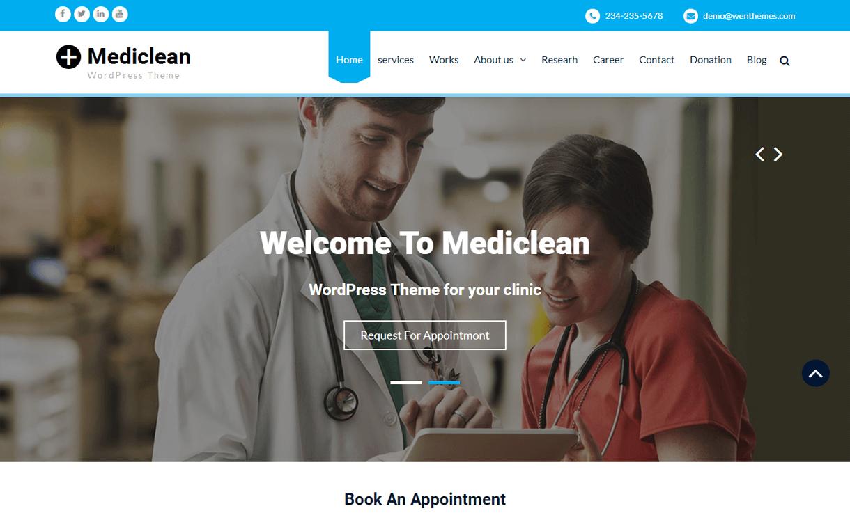 MediClean-Best Free Medical WordPress Theme